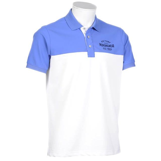 完売 セール マンシングウェア メンズ 内祝い ポロシャツ 半袖 MGMPJA14 ホワイト ブルー 2020年春夏新作 カラーブロック