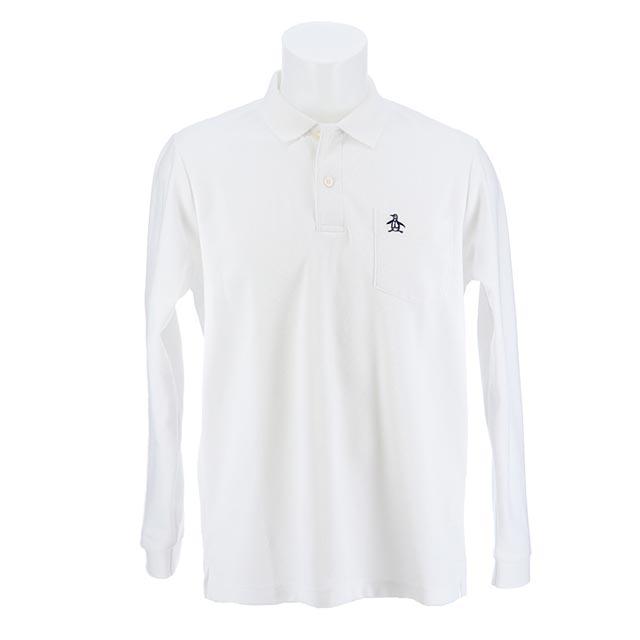 マンシングウェア メンズ オープニング 大放出セール 長袖ポロシャツ 無地 ホワイト MGMLGB02 白 激安格安割引情報満載 日本製2019年春夏新作
