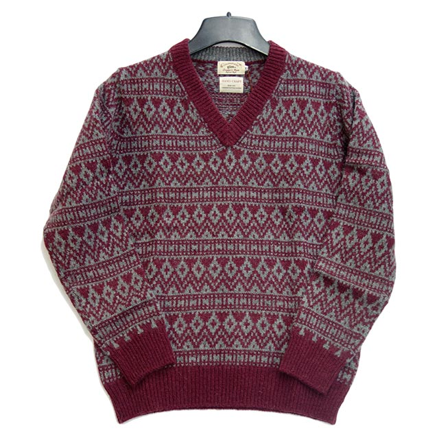 gim メンズVネックセーター ワインレッド 総柄 ウール100%