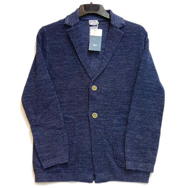 gim ニットジャケット スペック染め ディープブルー 日本製
