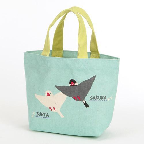 25%OFF トートバッグ ミニトート 動物柄 文鳥 小鳥 布製 グリーン ぶんた さくら ランチバッグ 激安価格と即納で通信販売