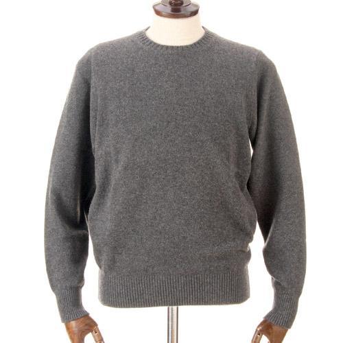 カシミヤ100%  メンズ クルーネックネックセーター チャコールグレー 日本製 送料無料 M・L・LL