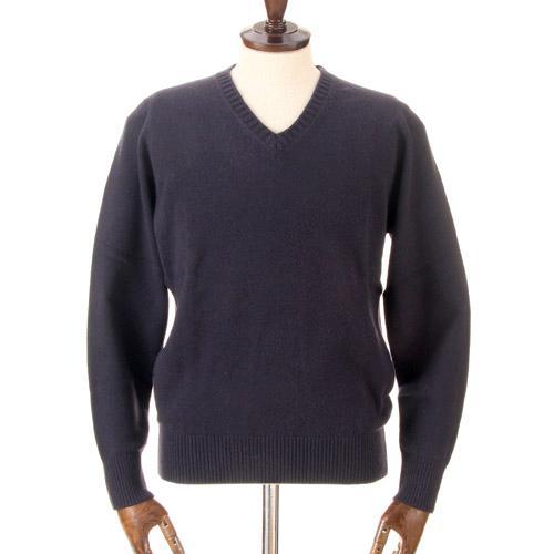 カシミヤ100%Vネックセーター ネイビー 日本製 送料無料 M・L・LLサイズ