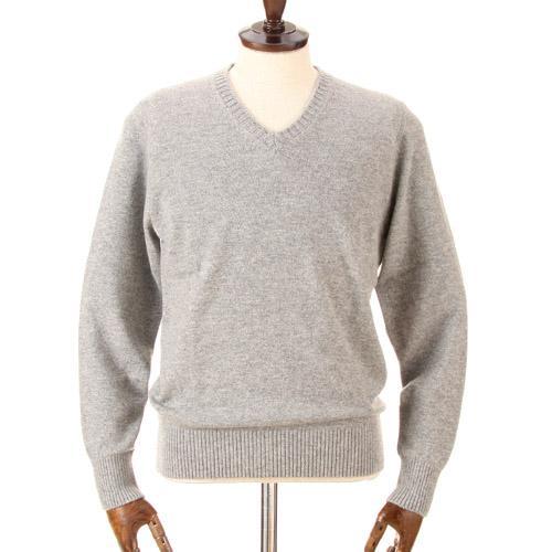 カシミヤ100%Vネックセーター ライトグレー 日本製 送料無料 M・L・LLサイズ
