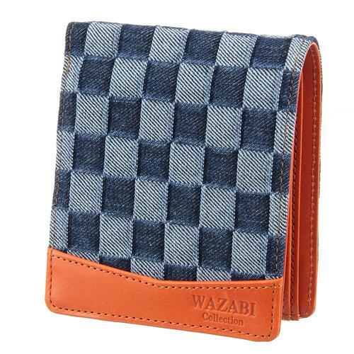 WAZABI  二つ折り財布 淡デニムオレンジベージュ 日本製