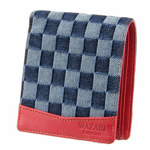 WAZABI  二つ折り財布 淡デニムレッド 日本製