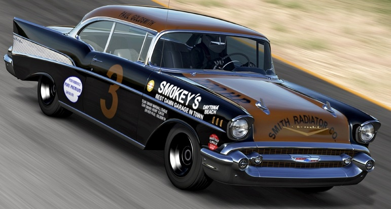 1/18 ACME☆1957 シボレー・ベルエア ストックカー Smokey Yunick 1957 Chevy Stock Car ワイルドスピード 黒/金 特別限定モデル!【予約商品】