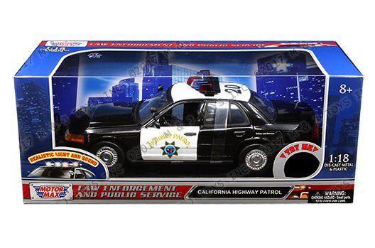 ミニカー 1/18 MOTORMAX☆パトカー ハイウェイパトロール フォード・CV・インターセプター「カリフォルニア・ハイウェイパトロール」黒/白 【予約商品】