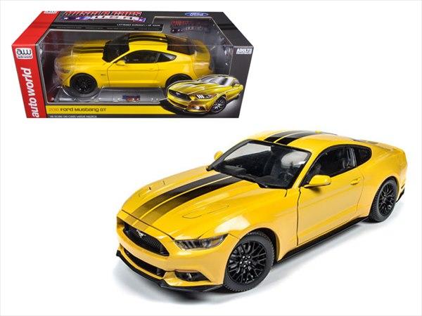 ミニカー 1/18 AUTOWORLD☆2016 フォード・マスタング GT 黄色 特別限定モデル!【予約商品】