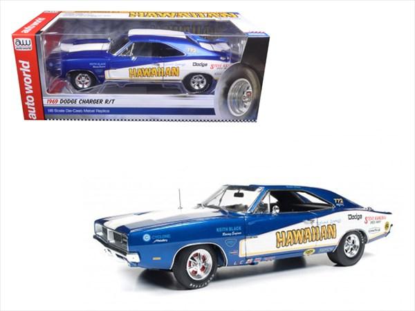 ミニカー 1/18 AUTOWORLD☆1969 ダッジ。チャージャーR/T Hawaiian 青/白色 特別限定モデル!【予約商品】