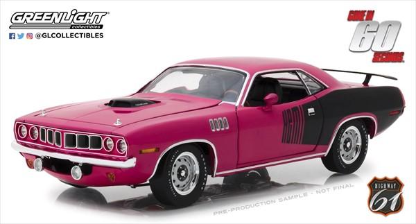 ミニカー 1/18 GREENLIGHT☆60セカンズ 1971 プリムス・バラクーダ シャノン ピンク【予約商品】