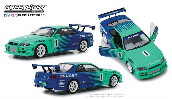ミニカー 1/18 GREENLIGHT 1999 スカイラインGTR R34 Falken Tires  予約商品