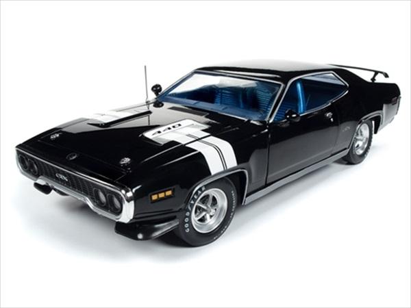 ワイルドスピードミニカー 1/18 AUTOWORLD☆1971 プリムスGTX 黒/白ライン【予約商品】