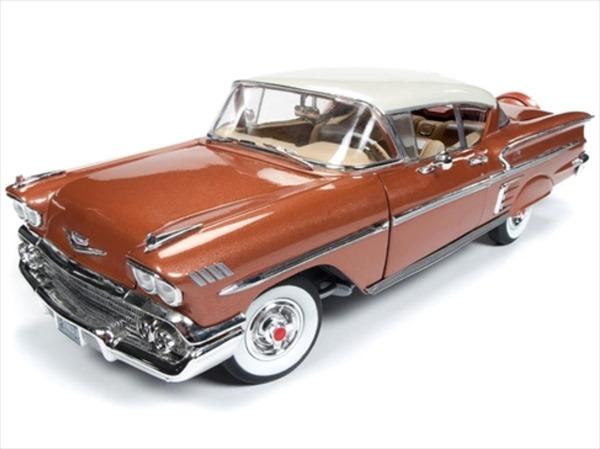 ミニカー 1/18 AUTOWORLD 1958 シボレー インパラ ベルエア ゴールド色 ミニカー アメ車  限定品 予約商品