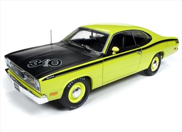 ミニカー 1/18 AUTOWORLD 1971 プリムス Duster 340 若草色 ミニカー アメ車  限定品 予約商品