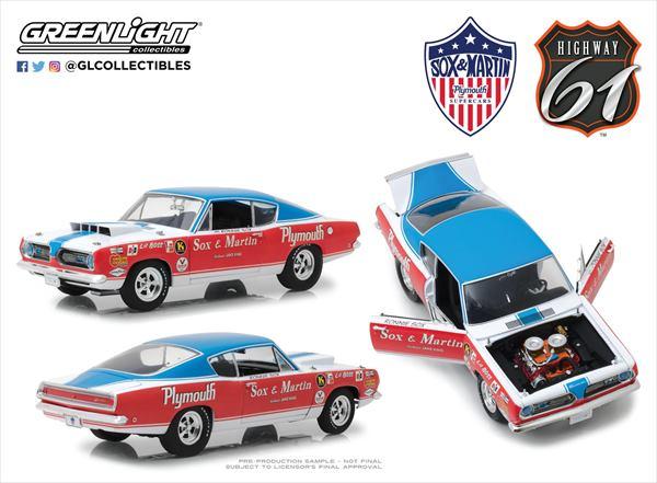 ミニカー 1/18 Highway61☆1968 プリムス・バラクーダ Sox & Martin NASCAR【予約商品】