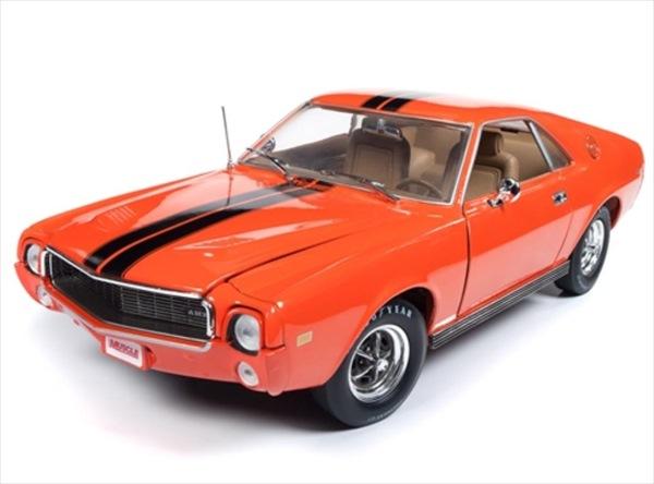 ミニカー 1/18 AUTOWORLD☆1969 AMC AMX オレンジ/黒 雑誌「 Hemmings Muscle Machines」の表紙になった車です♪【1000台限定予約商品】