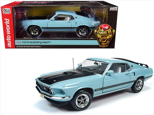 ミニカー 1/18 AUTOWORLD☆1969 マスタング マッハ1 水色 1969 Ford Mustang Mach 1【予約商品】