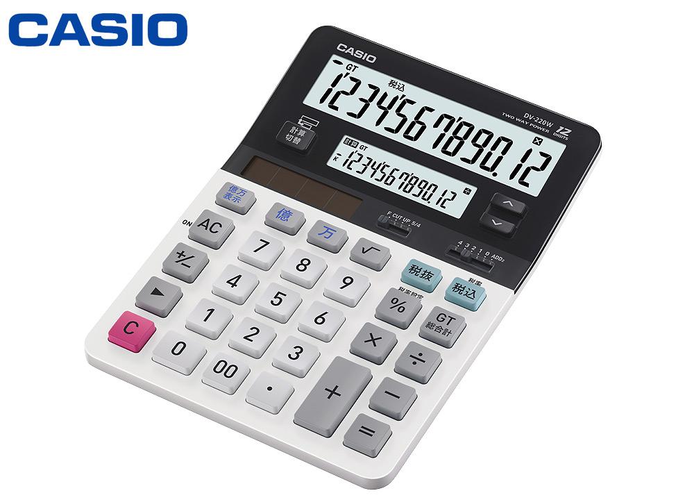 CASIO Casio twin liquid crystal electronic calculator Mie Mie desk type 12  columns DV-220Wop437-065