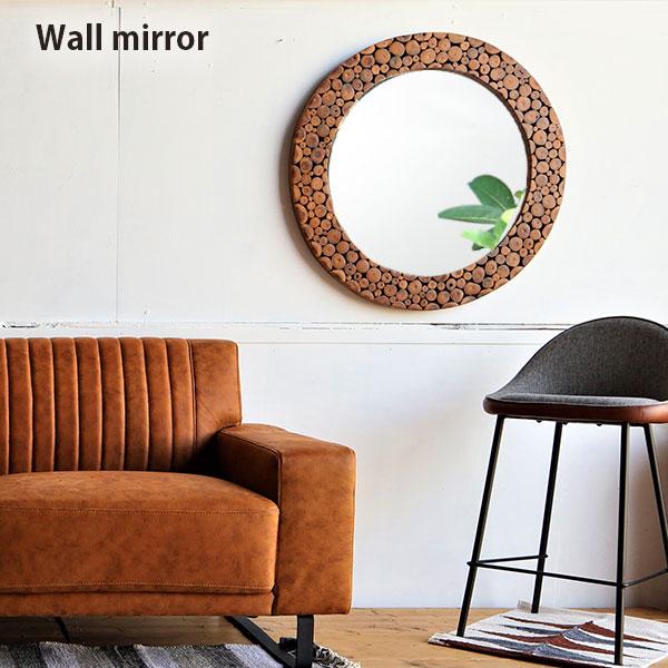 飛散防止ミラー φ60 おしゃれ 壁掛けミラー 丸型 丸 【送料無料】 壁掛け鏡 円形 デザインミラー φ80 ウォールミラー 切り株の集合体