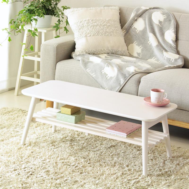 うっすら木目 ホワイト 棚付き センターテーブル 折りたたみ 幅90 【送料無料】 折れ脚 ローテーブル リビングテーブル 一人暮らし 小さいテーブル 白 安い 激安 かわいい