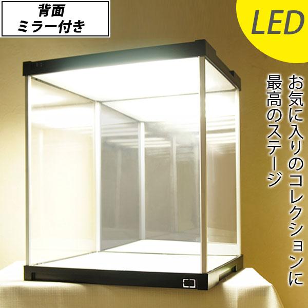 LEDで映える♪ アクリルケース J-STAGE LED照明・背面ミラー付き 【送料無料】 コレクションケース LED コレクションボード フィギュアケース 背面ミラー コレクションラック ディスプレイケース ショーケース 卓上 収納