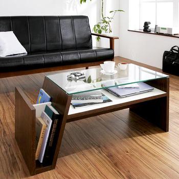 雑誌好きにはたまらない♪ サイドラック付き ガラステーブル 幅90 【送料無料】 リビングテーブル ローテーブル ガラス センターテーブル 棚付きテーブル ロータイプ 激安 格安 安い マガジンラック付き おしゃれ 一人暮らし
