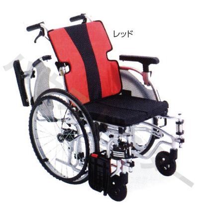 【送料無料】自走式 MEF-22 CJ00950 レッド/ブルー ミキ [車椅子 介助 アルミ製 介護用品]【代金引換不可】