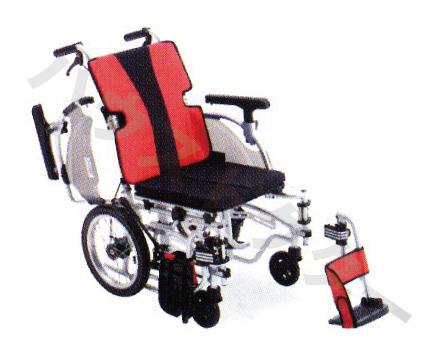【送料無料】介助式 MEF-14 CJ00956 レッド/ブルー ミキ [車椅子 介助 アルミ製 介護用品]【代金引換不可】