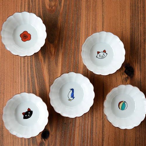 kutani seal クタニシール 九谷 九谷焼 器 和食器 皿 小皿 豆皿 8種類 新作入荷!! 動物 小鉢 SEAL 与え KUTANI 母の日 猫 菊小鉢