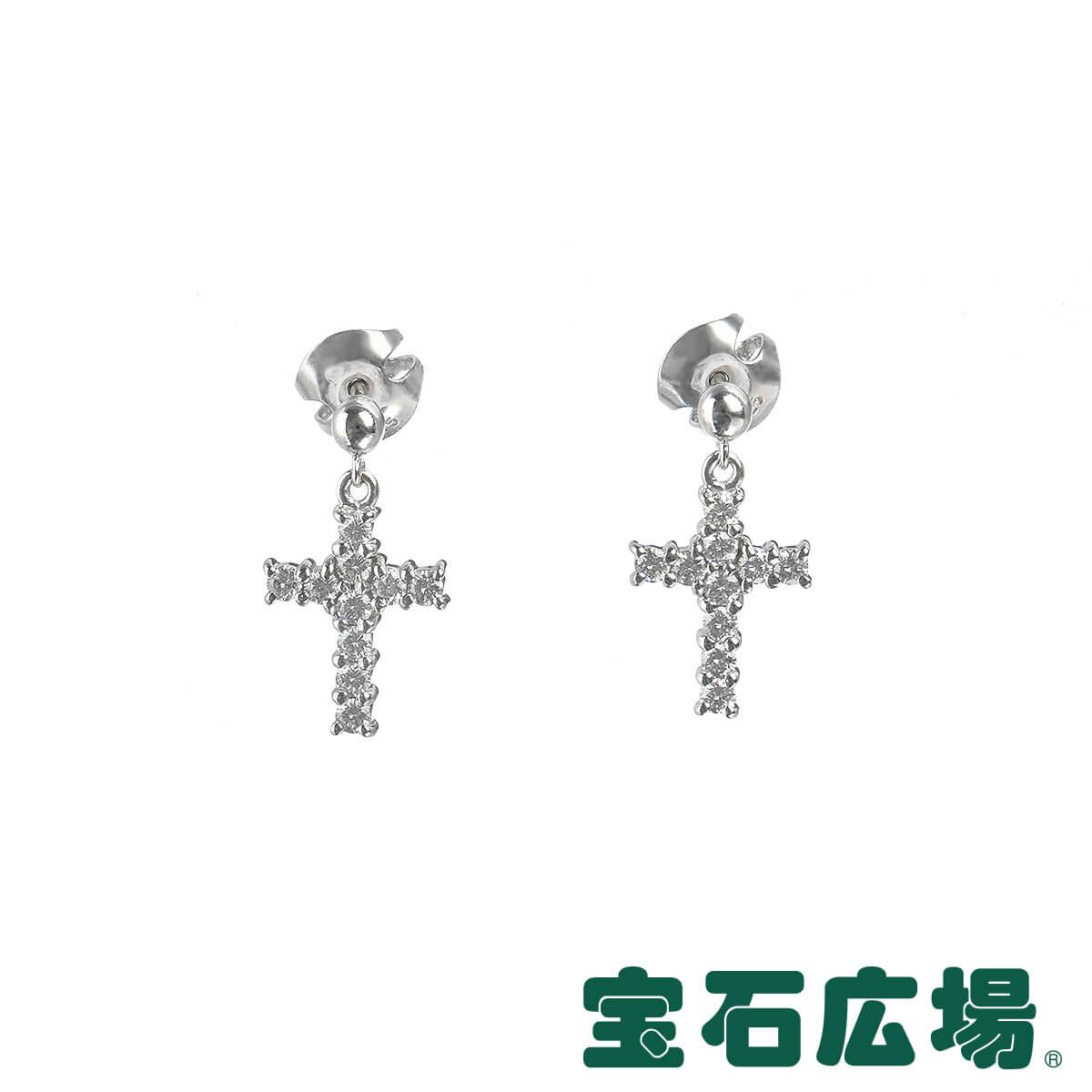ミキモト MIKIMOTO クロス ダイヤ ドロップピアス 【中古】 ジュエリー 送料無料