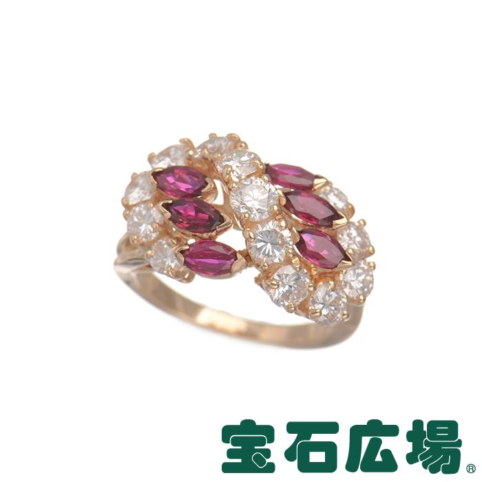 11号 オスカーハイマン マーキスルビー・ダイヤ リング【中古】 ジュエリー 送料無料