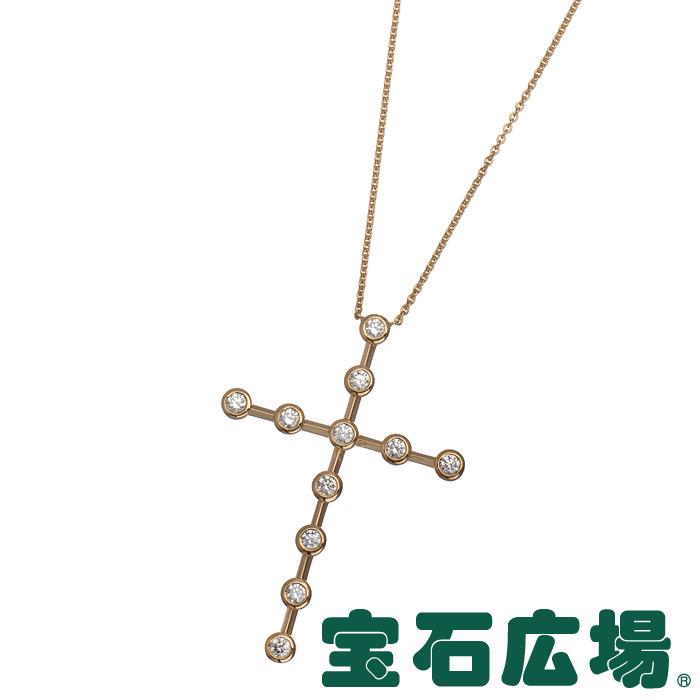 デビアス ラビングカップ クロス 11Pダイヤ ネックレス【中古】 ジュエリー 送料無料