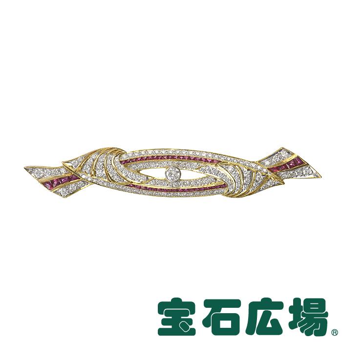 ノーブランド ルビー ダイヤ ブローチ【中古】 ジュエリー 送料・代引手数料無料