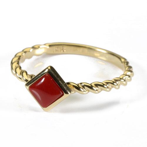 血赤珊瑚 リング 指輪 スクエアー 無染色 K18 イエローゴールド Jime&Della 宝石サンゴ 天然 本さんご コーラル