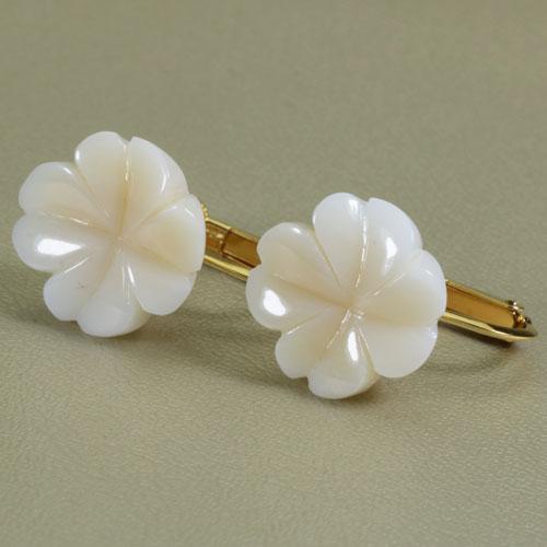 白珊瑚 イヤリング シルバー 四つ葉 クローバー 無染色 JUNSUI宝石サンゴ 天然 本さんご コーラル
