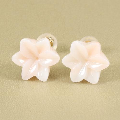 ミッド珊瑚 ピンク ピアス ユリ 花 K18 無染色 JUNSUI宝石 サンゴ 天然 本 さんご コーラル