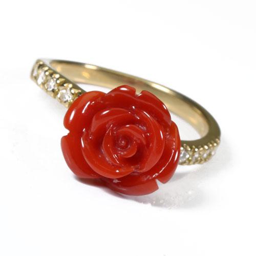 血赤珊瑚 リング 薔薇 K18 イエローゴールド 無染色 JUNSUI 宝石サンゴ 天然 本さんご コーラル