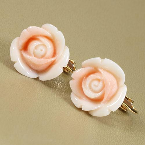 桃珊瑚 イヤリング 薔薇 花 K18 無染色 JUNSUI宝石サンゴ 天然 本さんご コーラル