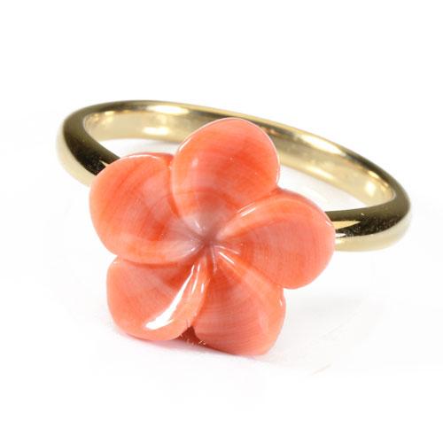 桃珊瑚 リング 指輪 プルメリア 花 K18 イエローゴールド 無染色 JUNSUI宝石サンゴ 天然 本さんご コーラル