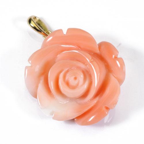 桃珊瑚 ペンダント 薔薇 花 K18YG スカッチ 無染色 JUNSUI宝石サンゴ 天然 本さんご コーラル