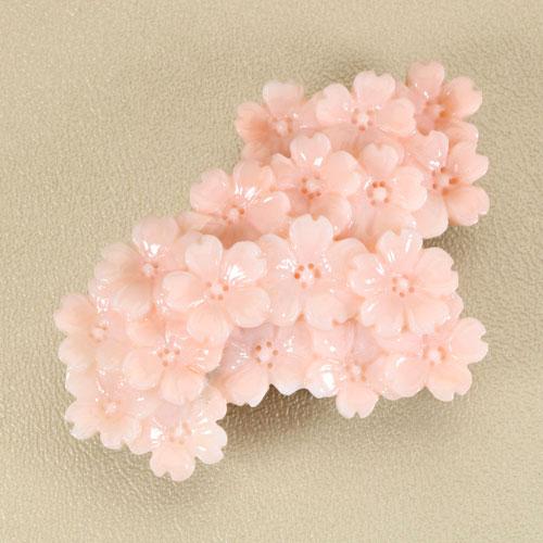 桃珊瑚 本ボケ ペンダント ブローチ 桜 花 K18 無染色 JUNSUI宝石サンゴ 天然 本さんご コーラル