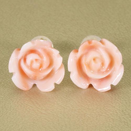 ピンク珊瑚 深海珊瑚 ピアス 薔薇 花 K18YG 無染色JUNSUI宝石サンゴ 天然 本さんご コーラル