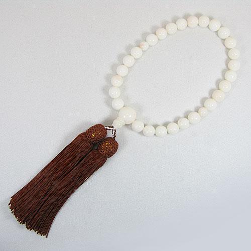 ミッド珊瑚(白)数珠 念珠 略式 片手 正絹 無染色 SANSUI宝石サンゴ 天然 本さんご コーラル