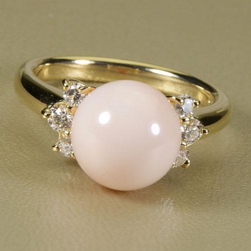 桃珊瑚 本ボケ リング 指輪 丸玉 無染色 K18 イエローゴールド SANSUI宝石サンゴ 天然 本さんご コーラル