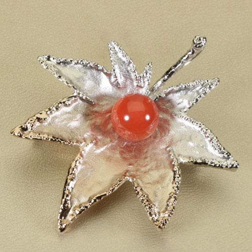 桃珊瑚 ペンダント ブローチ 紅葉 シルバー 無染色 SANSUI宝石サンゴ 天然 本さんご コーラル