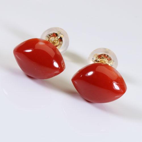 赤珊瑚 ピアス マーキス K18YG 無染色 SANSUI宝石サンゴ 天然 本さんご コーラル