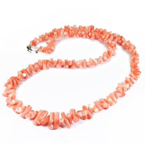 ピンク珊瑚(深海珊瑚 ヤタラ ネックレス SV 無染色 SANSUI宝石サンゴ 天然 本さんご コーラル