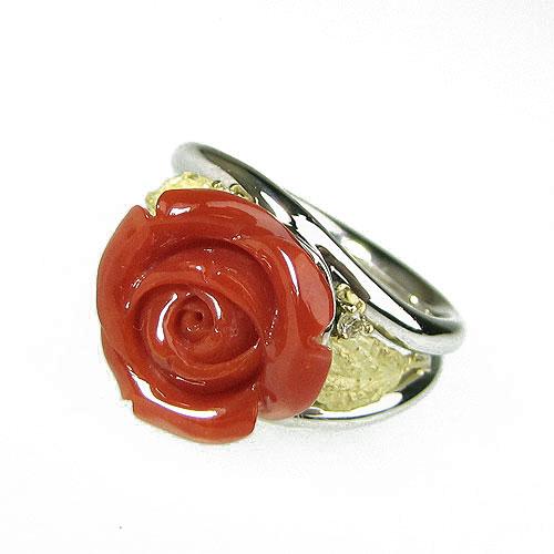 赤珊瑚 リング 指輪 バラ プラチナ Pt900 K18 無染色 SANSUI宝石サンゴ 天然 本さんご コーラル