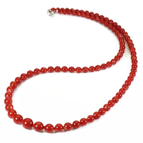 血赤珊瑚 ネックレス 無染色 48cm K18WG SANSUI 宝石サンゴ 天然 本さんご コーラル